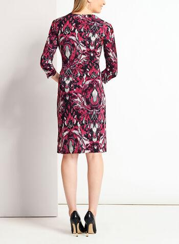 Graphic Print Faux Wrap Jersey Dress, , hi-res