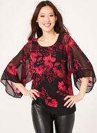 Floral Print Kimono Poncho Blouse, Black, hi-res