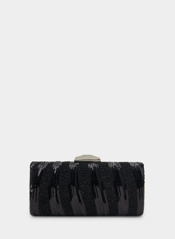 Sequin Box Clutch, Black