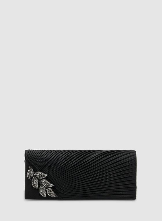 Pochette satinée et plissée , Noir, hi-res