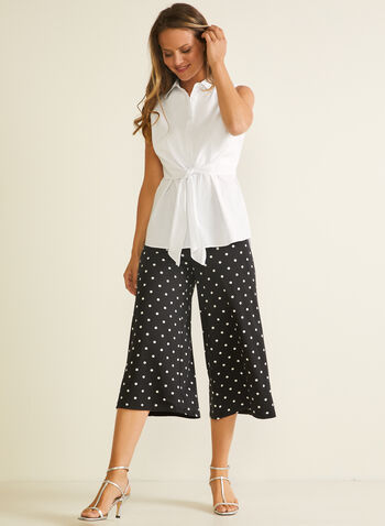 Polka Dot Print Gaucho Pants, Black,  pants, capris, gaucho, culottes, pull-on, polka dot, wide leg, pockets, jersey, spring summer 2020