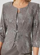 Alex Evenings - Robe à corsage en sequins et cardigan , Gris, hi-res