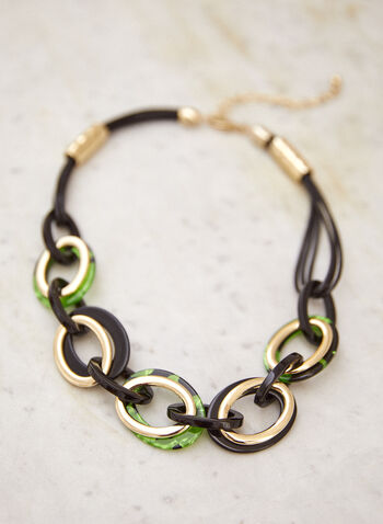 Multi Cord Oval Link Necklace, Green,  fall winter 2021, accessories, jewellery, jewelry, necklace, multi cord, multi, oval, chain link, golden, gold, resin, lobster clasp