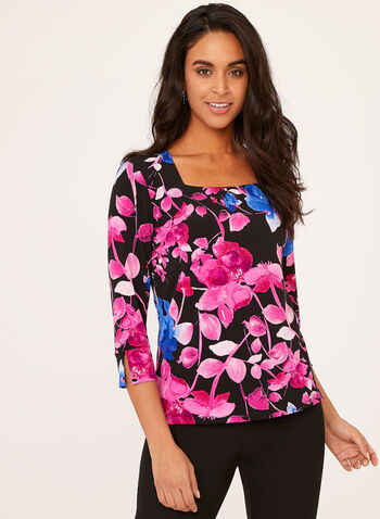 Square Neck Floral Print Top, Multi, hi-res