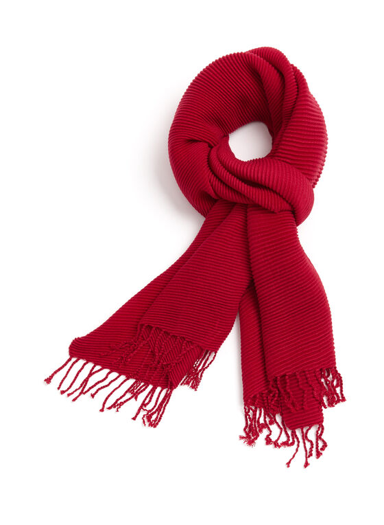 Rib Knit Scarf , Red, hi-res