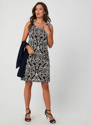 Dress & Cardigan Set, Blue, hi-res,  day dress, fall winter 2019, brocade print, jersey, long sleeve