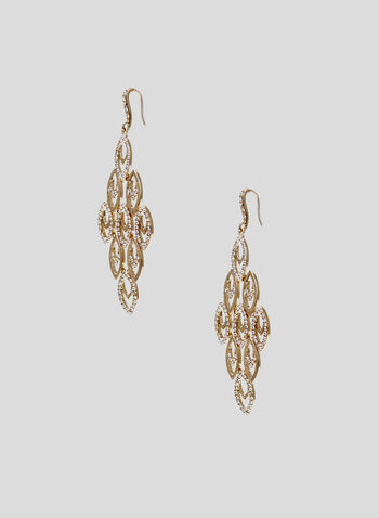 Crystal Embellished Cascade Earrings, Gold, hi-res