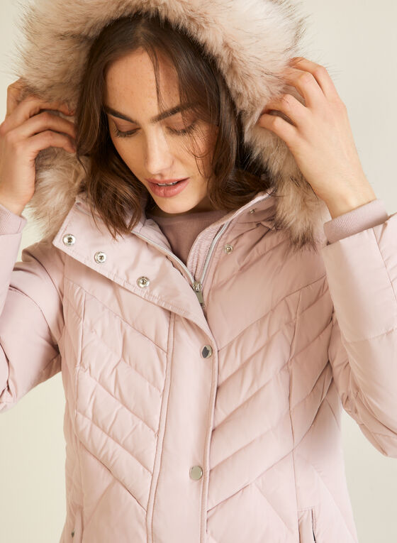 Hooded Down Blend Coat , Pink