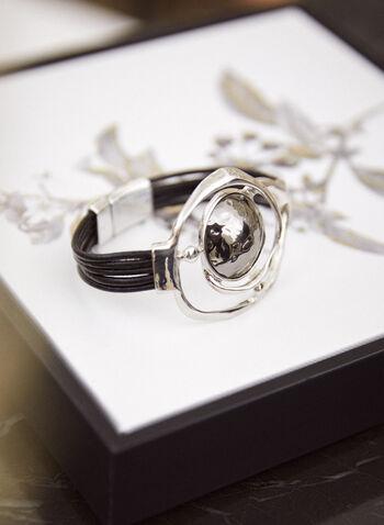 Bracelet à formes géométriques arrondies, Noir,  accessoires, bijoux, bracelet, corde, anneaux géométriques asymétriques, forme arrondie, métal martelé, argent, fermeture magnétique, automne hiver 2021
