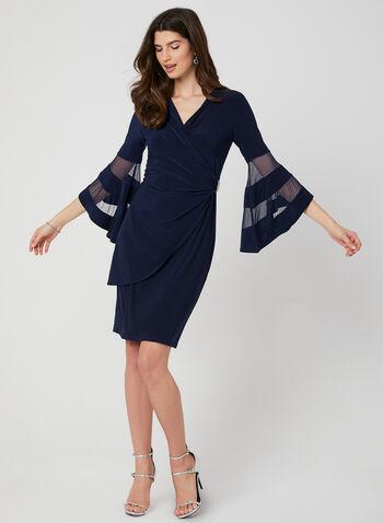 Robe cache-cœur et détails en maille, Bleu, hi-res,  printemps 2019, robe cocktail, manches cloche, cristaux, broche, ajusté, jersey