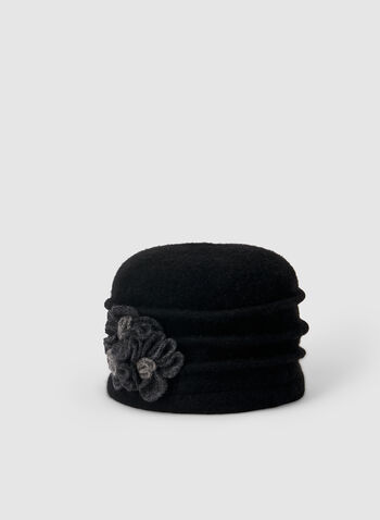 Flower Wool Hat, Black,  hat, flower, wool, fall 2019, winter 2019