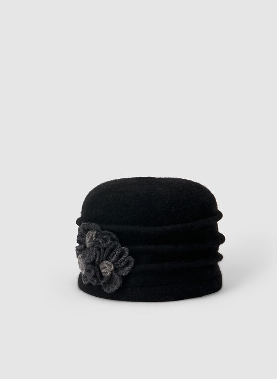 Flower Wool Hat, Black