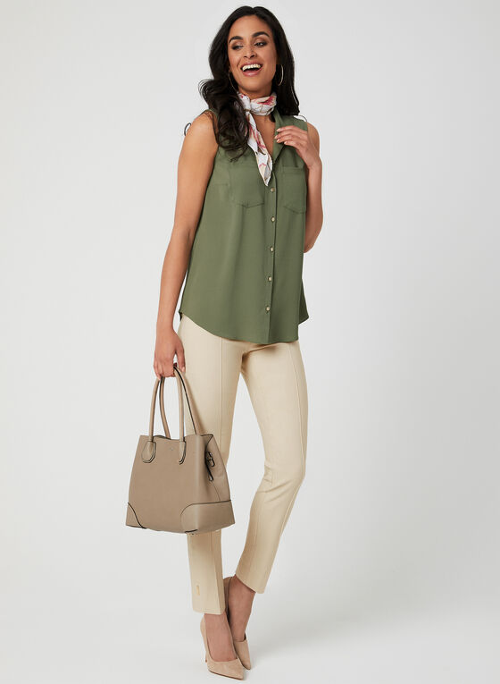 Sleeveless Button Down Blouse, Green, hi-res