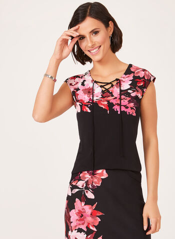 Floral Print Laced Neck Top, Black, hi-res