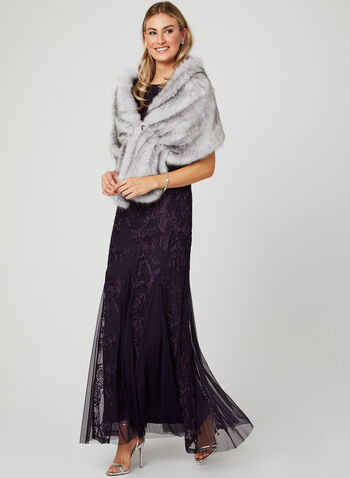 Faux Fur Shawl, Purple, hi-res
