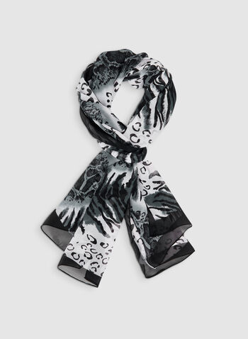 Mixed Animal Print Scarf, Black, hi-res,  lightweight, chiffon, scarf, animal print, fall 2019, winter 2019