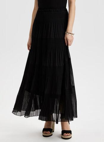 Pull-On Maxi Skirt, Black,  spring summer 2021, skirt, maxi, pleated, folded hem, long skirt, pull on