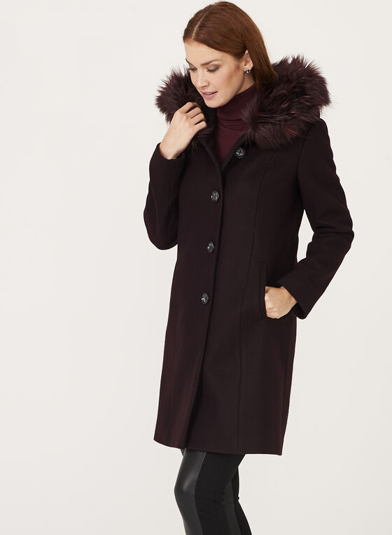 Manteau aspect laine et col en fausse fourrure amovible, Violet, hi-res