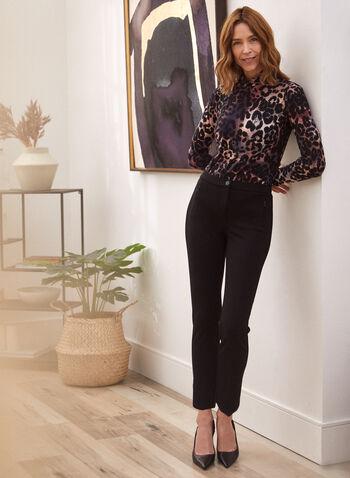 Cheetah Print Turtleneck Top, Red,  Fall winter 2021, made in Canada, top, blouse, turtleneck, mock neck, long sleeve, tie dye, cheetah print, animal print, leopard print