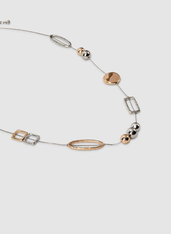 Two Tone Geometric Pendant Necklace, Yellow