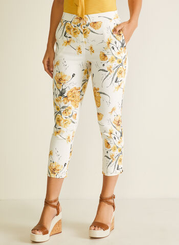 Floral Print Pull-On Capris, Yellow,  capris, pull-on, floral, belt loops, pockets, slim leg, spring summer 2020