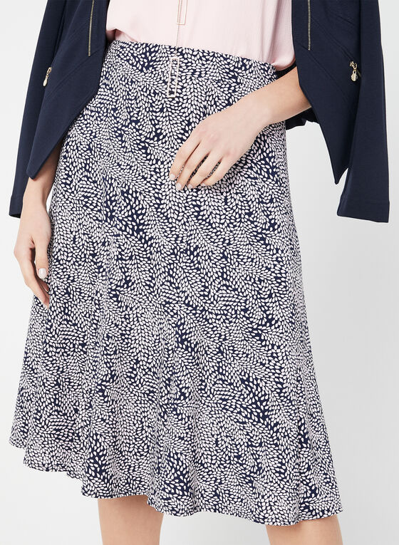 Leaf Print Gored Skirt, Blue, hi-res