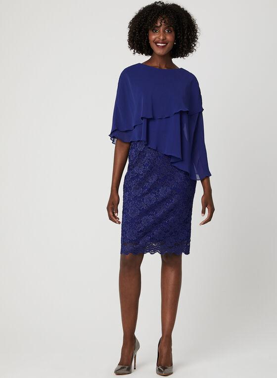 Robe poncho étagée en dentelle brillante, Bleu, hi-res