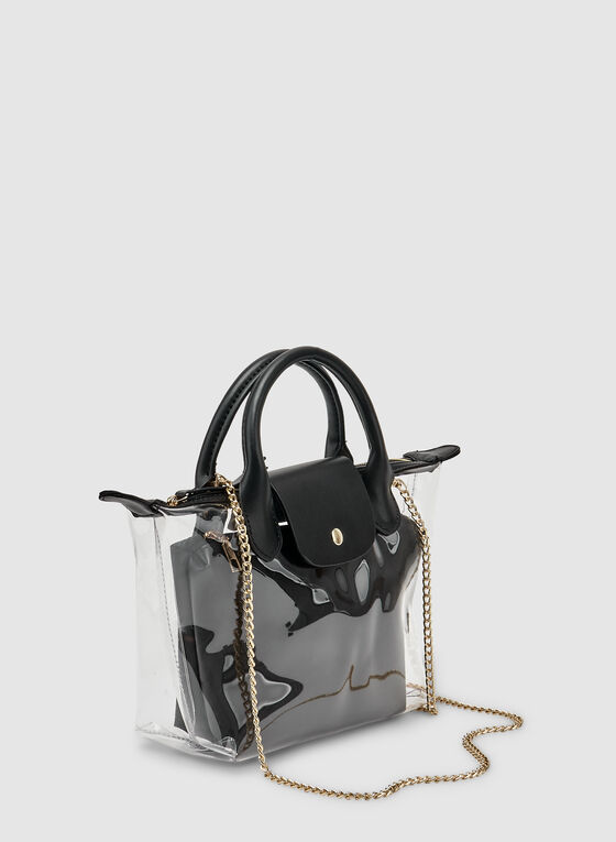 Clear Handbag With Inner Pouch, Black, hi-res
