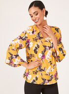 Floral Print Bell Sleeve Blouse, Yellow, hi-res