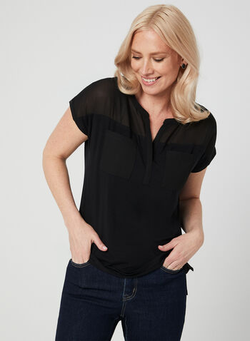 Chiffon Detail T-Shirt, Black, hi-res,  Spring summer 2019, short sleeves. jersey fabric, chiffon, t-shirt