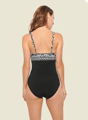 Christina - 1 pièce croisé motif abstrait, Noir,  maillot de bain, une pièce, abstrait, bretelle