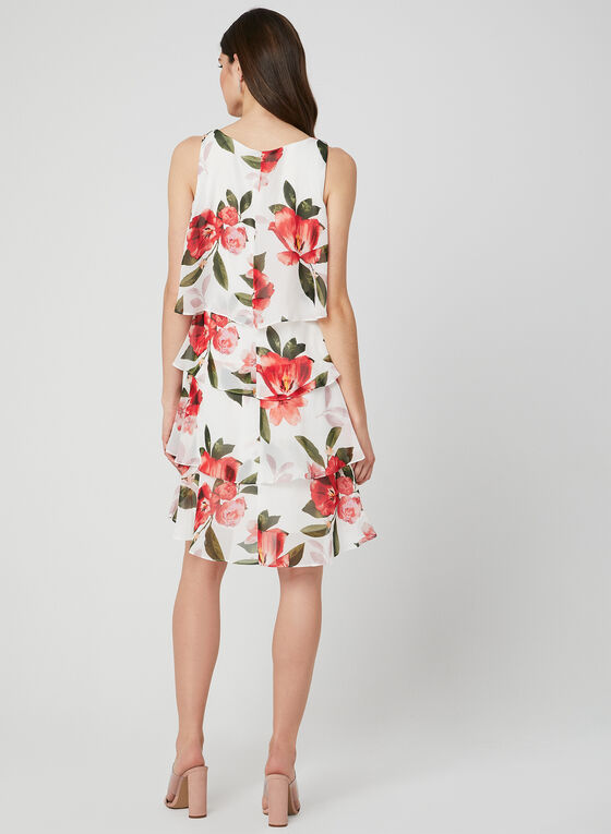 Floral Print Tiered Dress, White