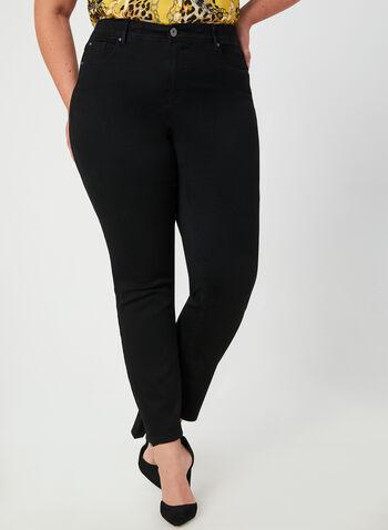 Jeans coupe signature à jambe droite, Noir,  jeans, signature, jambe droite, automne hiver 2019