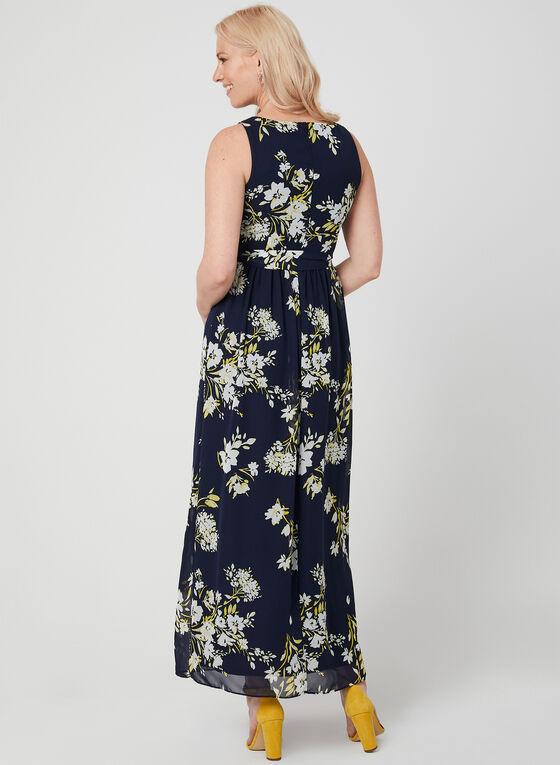 Floral Print Chiffon Maxi Dress, Blue, hi-res