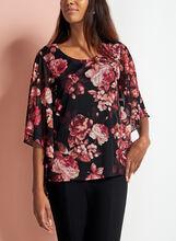 Floral Print Angel Sleeve Blouse, Red, hi-res