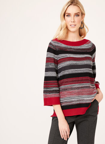 Stripe Print Boat Neck Sweater, Red, hi-res