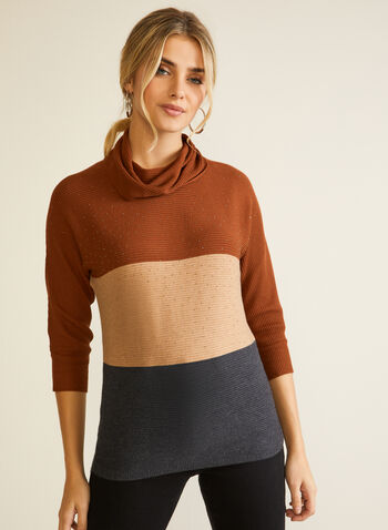 Crystal Detail Colour Block Sweater, Brown,  Fall winter 2020, sweater, knit, colour block, 3/4 sleeves, Crystals,