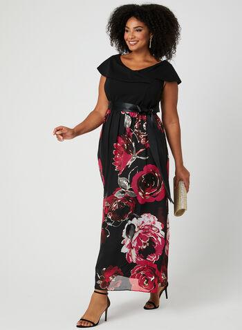 Robe à jupe fleurie en mousseline, Noir, hi-res,  robe de soirée, jupe fleurie, mousseline, ceinture ruban, col Marilyn, mancherons, printemps 2019
