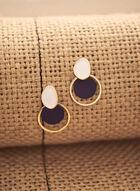 Dangle Disc Hoop Earrings, Blue