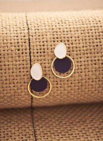 Boucles d'oreilles pendantes à disques et anneau, Bleu,  accessoire, bijou, boucles d'oreilles, disques, bicolores, noir, blanc, doré, or, tige, printemps été 2021