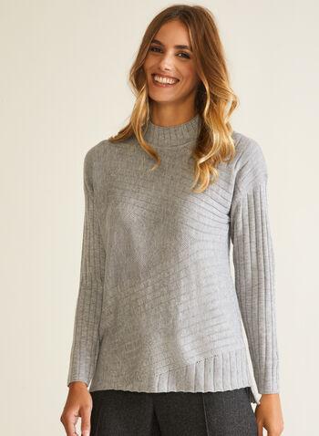 Pull à col cheminée en laine mélangée, Gris,  pull, col cheminée, manches longues, tricot, laine, automne hiver 2020