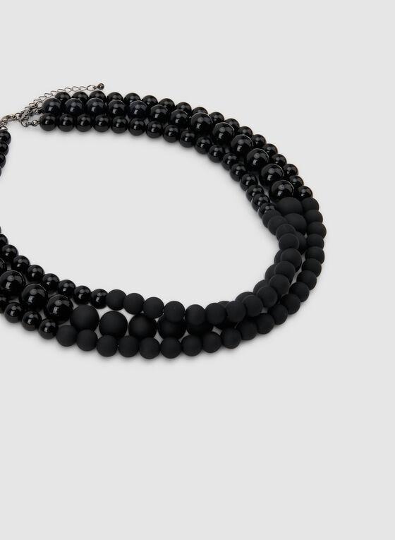 Collier court en perles, Noir