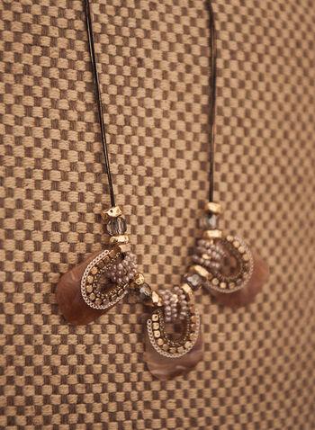 Collier à breloques en résine , Brun,  printemps été 2021, accessoires, bijoux, collier, breloques, résine, perles, cordon