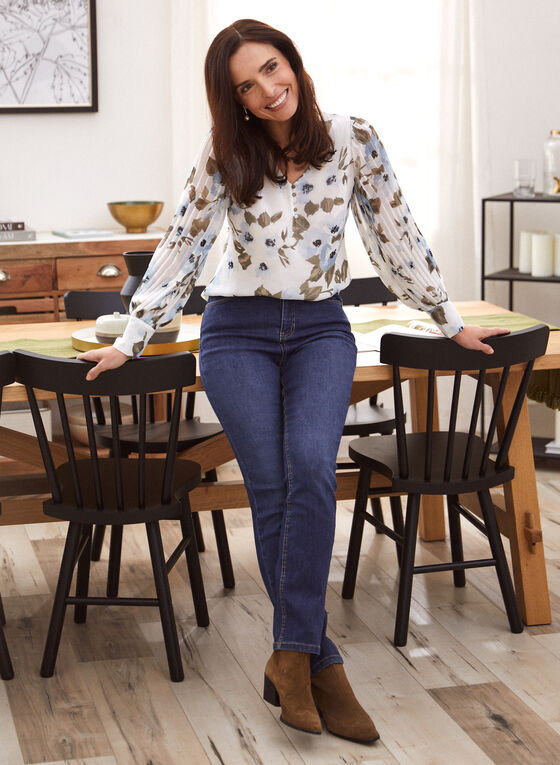 Floral Pleated Sleeve Blouse, White