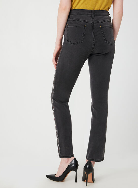 Animal Print Side Straight Leg Jeans, Grey