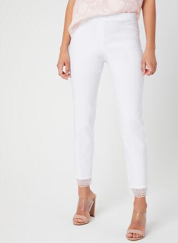 City Fit Slim Leg Pants, White, hi-res,  pull-on, crochet trim, spring 2019, ankle