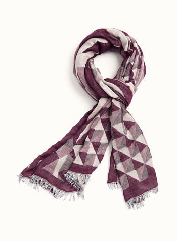 Geometric Print Scarf, Red, hi-res