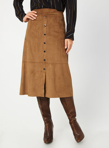 Faux Suede Skirt, Brown,  fall winter 2019, faux suede, A-line,