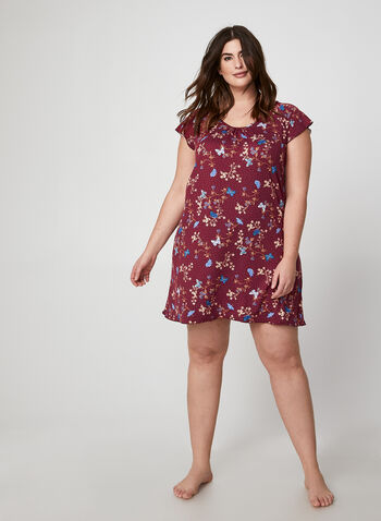 Hamilton - Mixed Butterfly & Floral Print Nightgown, Red,  canada, nightgown, sleepwear, nightwear, floral print, print, cap sleeves, fall 2019, winter 2019