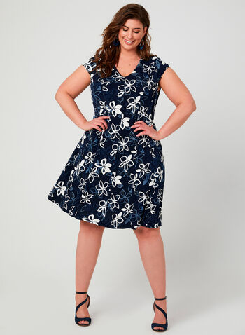 Floral Print Fit & Flare Dress, Blue, hi-res,  textured, jersey, short sleeves, V-neck, spring 2019, summer 2019